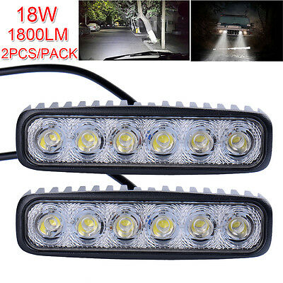 2X 6Inch 18W Led Work Light Bar Spot Beam Offroad Fog Driving 4Wd Lamp Ute Suv