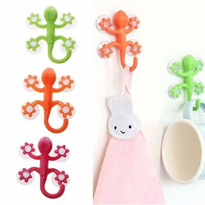1/5/10pcs 4-Suction Cup Gecko Glass Window Wall Hooks Hanger Kitchen Bathroom