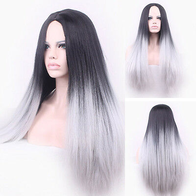 Long Women's Fashion Hair Grey Mixed Black Straight Synthetic Lace Front Wigs