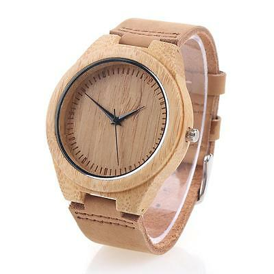 Fashion Men's Women's Bamboo Wood Watch Quartz Leather Wristwatches w/Box