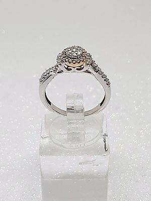 100% Genuine 10Ct White & Rose Gold Diamond Halo Cluster Engagement Ring Size M