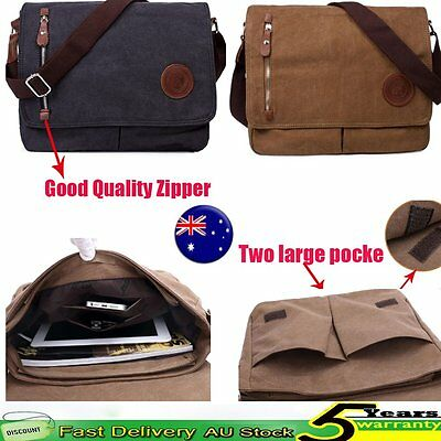 Men's Vintage Canvas Messenger Shoulder Satchel Laptop Bag School Travel Hiking