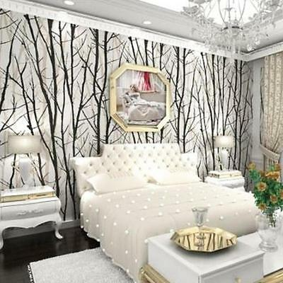 Waterproof 3D Stereo Abstract Branches Forest Woods Trees Wallpaper Black& White