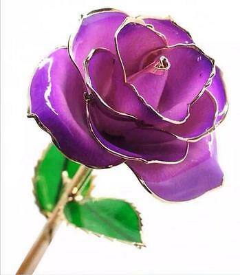 "Valentine's Purple 11"" Long Stem Real Rose Dipped in 24k Gold Foil Trim Rose"