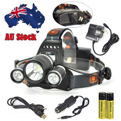 10000LM XML T6 LED Zoomable Headlamp Rechargeable Head Light Torch+18650+Charger