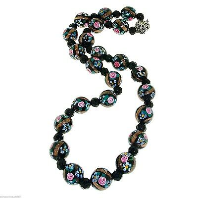 """Murano Glass """"Fiorate"""" Beads Necklace, end of 19th c. 0132"""