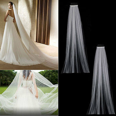3M Length White Ivory Chapel Cathedral Long Wedding Bridal Veils Fancy Dress