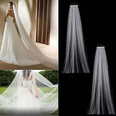 3M Length Ivory White Chapel Cathedral Long Wedding Bridal veils Fancy Dress