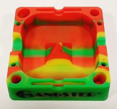 """Rasta Color, Gangster Tap Tray, 5"""" Silicone Ashtray"""