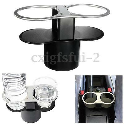 Double Drink Water Bottle Beverage two cups Holder For Universal Car Stand New
