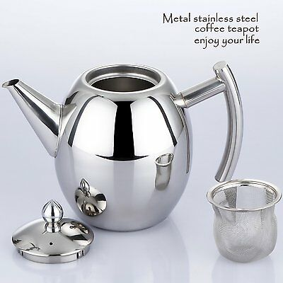 Stainless Steel Coffee Teapot Kettle Tea Pot 1000ML with Infuser Filter