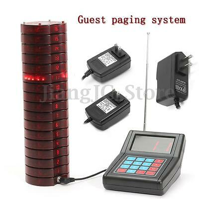 16 Restaurant Coaster Pager Guest Wireless Paging Queuing System +Transmitter AU