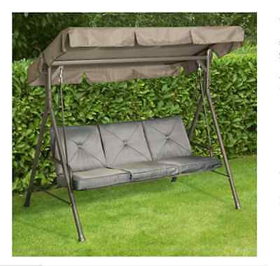 NEW Atlantic 3-Seater Swing Seat Grey Garden Furniture Swings Chairs Seats Chair