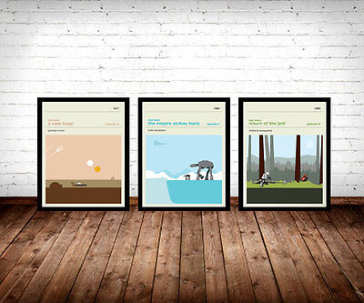 Star Wars Retro Film Poster Wall Art Prints Jedi Movie Posters Set of 3 Vintage
