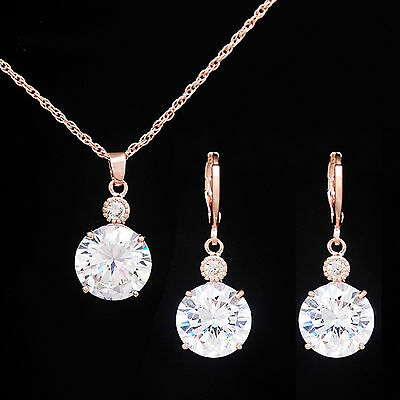 Rose Gold Plated Crystal Zirconia Jewellery Set Pendant Necklace Earrings