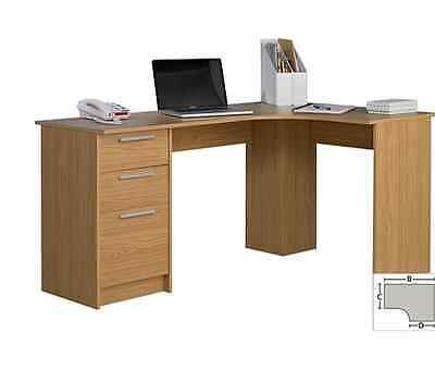 New Large Corner Office Desk Stylish Home Bedroom Study Table With 3 Drawers