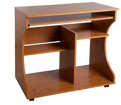 Pine Curved Computer Desk Trolley New Laptop Bedroom Study Desk With Shelves