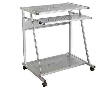 Metal PC Trolley With Easy Cable Access Study Table With Storage Laptop Table