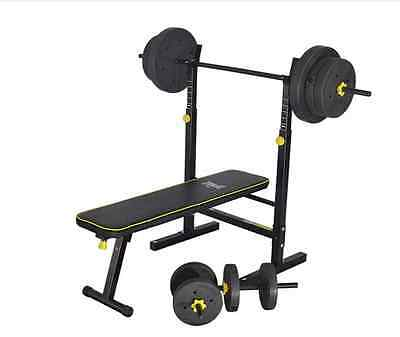 NEW Everlast Folding Bench with 50kg Weights Home Gym Equipment Benches Portable