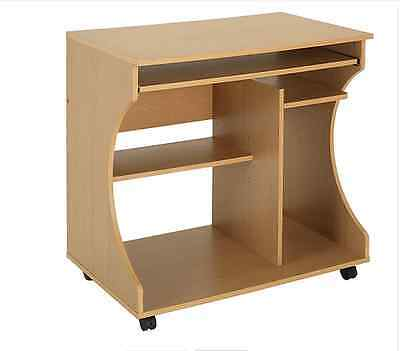 New Computer Desk Trolley Wood Effect Office Bedroom Study Desk With 3 Shelves