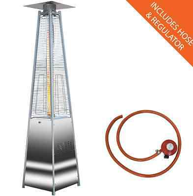 NEW Outdoor Patio Heater QUARTZ GAS Garden Heaters Fire Pits Portable Wheels
