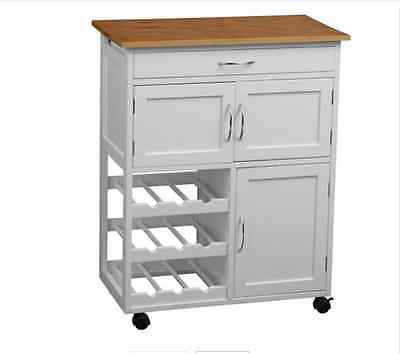 White Kitchen Trolley with Bamboo Top Kitchen Storage Trolley With Drawer