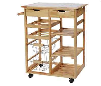 Pine Kitchen Storage Trolley With Shelves HOME Pine Tile Top Kitchen Trolley