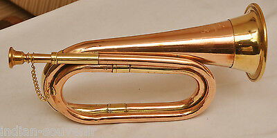 BUGLE BRASS with COPPER Vintage  Bugle Instrument  Military Signal Trumpet