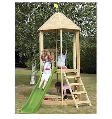 Wooden Castlewood Tower with Wavy Slide Kids Play Houses Slides Garden Toys NEW