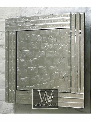 "Trevina Silver Glass Framed Square Bevelled Wall Mirror 24"" x 24"" Medium"