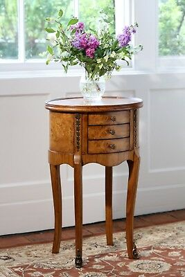 Hampton Walnut Oval Accent Table 3 Drawers H73 x W46 x D36 cm NEW TW003