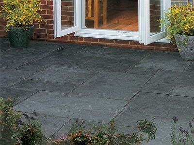 Kaddappa Black Indian Limestone Paving 22mm Calibrated Patio Pack (18.5m2 Pack)