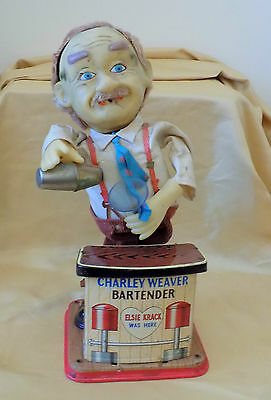 Vintage Tinplate Battery Operated CHARLEY WEAVER Cocktail Bartender Toy 1950s