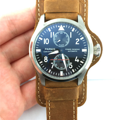 Parnis 47mm steel Power Reserve Seagull 2542 Automatic Men's Date Watch 206