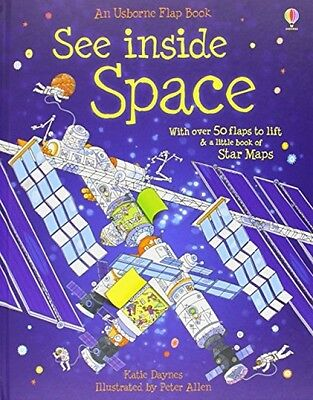 See Inside Space Usborne Hardback Flap Book Childrens Kids Pre School Science