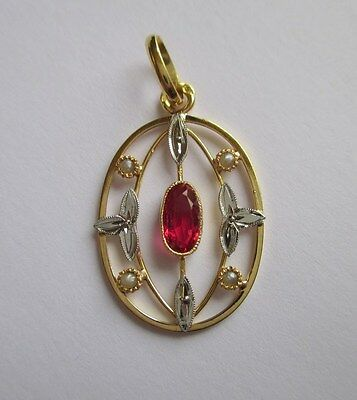 Superbe pendentif ancien Art Déco - French gold pendant or 18 carats 750