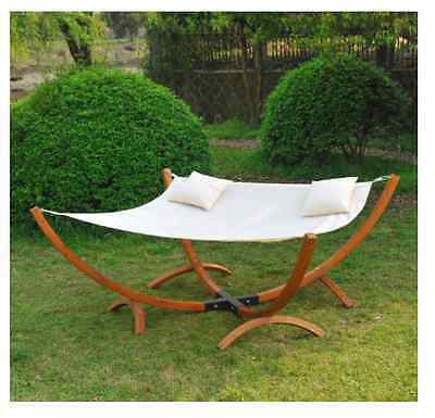 Homcom Garden Patio Wooden Wood Frame Hammock Swing Sun Lounger Canopy Chairs