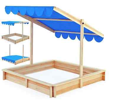 NEW Sandbox 120x120cm Sand Pit with adjustable Roof Outdoor Games Sunshade Kids