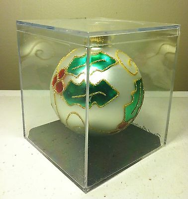 Designers Studio Hand Crafted GLASS BALL Christmas Ornament HOLLY in Lucite Box