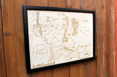 Lord Of The Rings Middle Earth Map Wooden Engraved Print Art Unique Gifts NEW