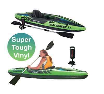 New Intex K1 Challenger Kayak 1 Man Inflatable Canoe Oars Kayaks Water Boats Fun