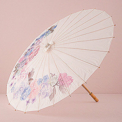 Vintage Wedding Summer Umbrella Bridal Parasol Floral Paper Hand Decoration NEW