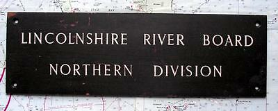 "Genuine Brass Vintage Sign Plaque : Lincolnshire River Board  13"" X 4"""