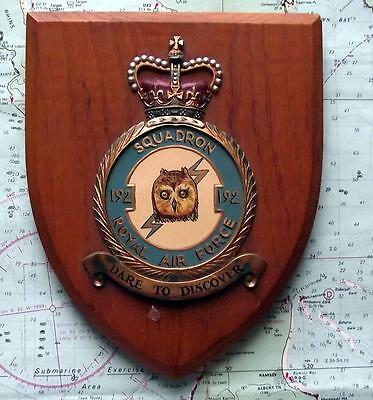 Old RAF Royal Air Force Owl 192 Squadron Station Crest Shield Plaque