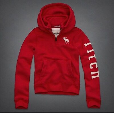 Boys Abercrombie & Fitch Red Hoodie Hoody XL Muscle Fit
