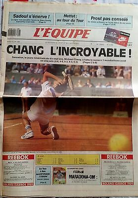 L'Equipe Journal 6/6/1989; Michael Chang incroyable/ Sadoul/ Mottet/ Prost/