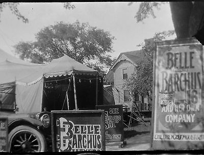 BF41 Photo Negative Belle Barchus Collection Vaudeville Theater Tent Cars Signs