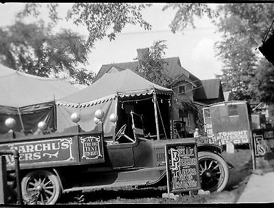 BF58 Photo Negative Belle Barchus Collection Vaudeville Theater Tent Trucks Sign