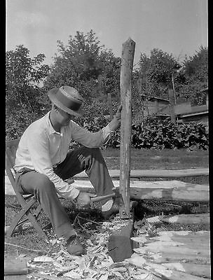 BF15 Photo Negative Belle Barchus Collection Vaudeville Crew Man Cuts Tent Stake