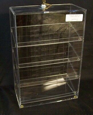 Store Display Fixtures NEW ACRYLIC SHOWCASE WITH 4 SHELVES, BLACK BACK, LOCK
